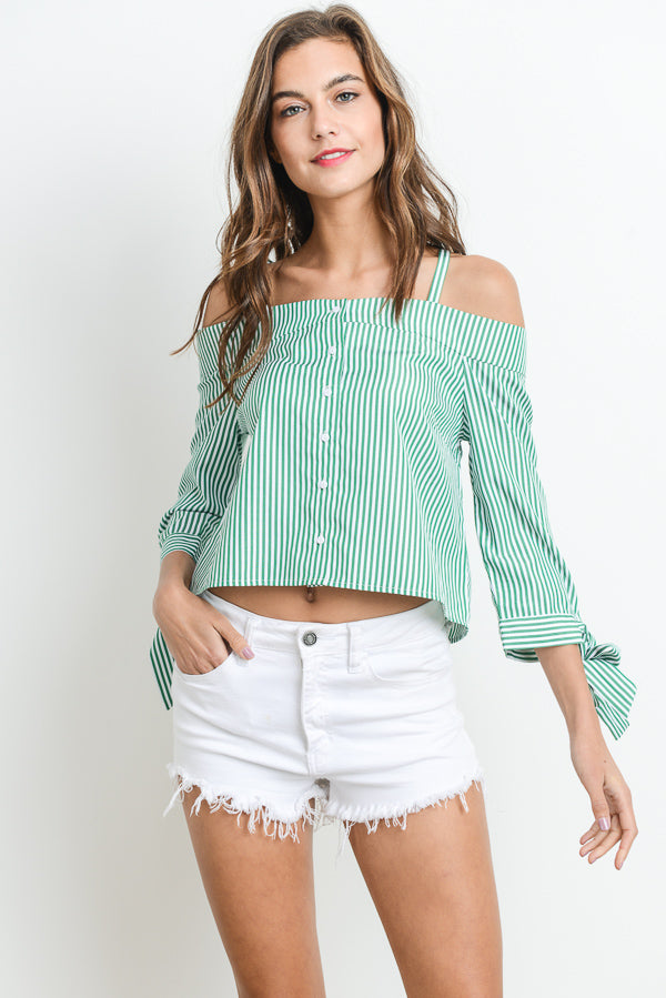 Fashion Top With Cold Shoulder Button Down Siin Bees