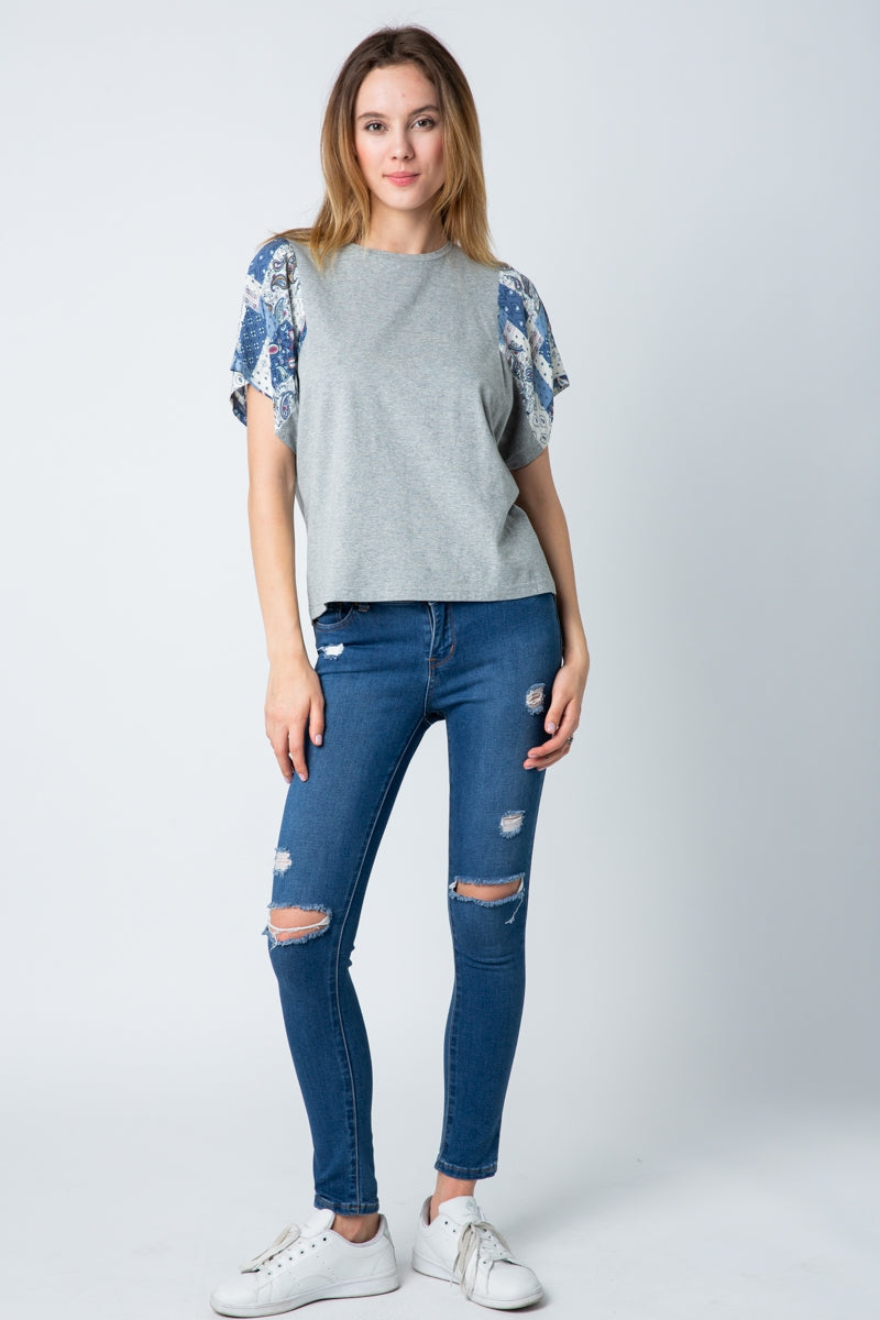 Brilliant Knit Crew Top With Mixed Media Sleeves In Grey Siin Bees