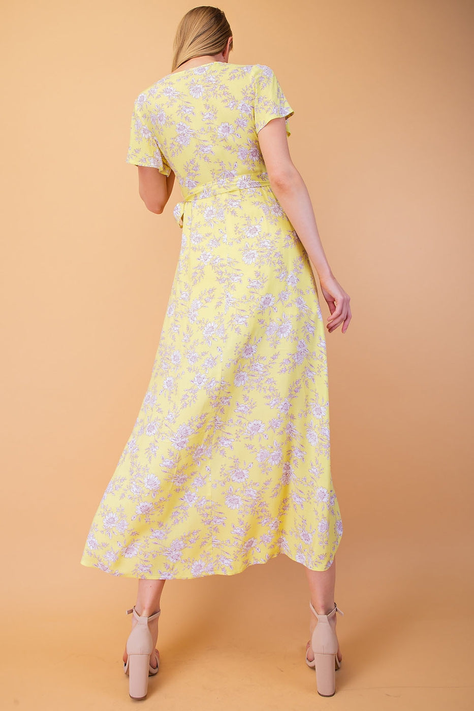 Naomi Floral Maxi Dress With Hi Low Wrap In Melon Siin Bees