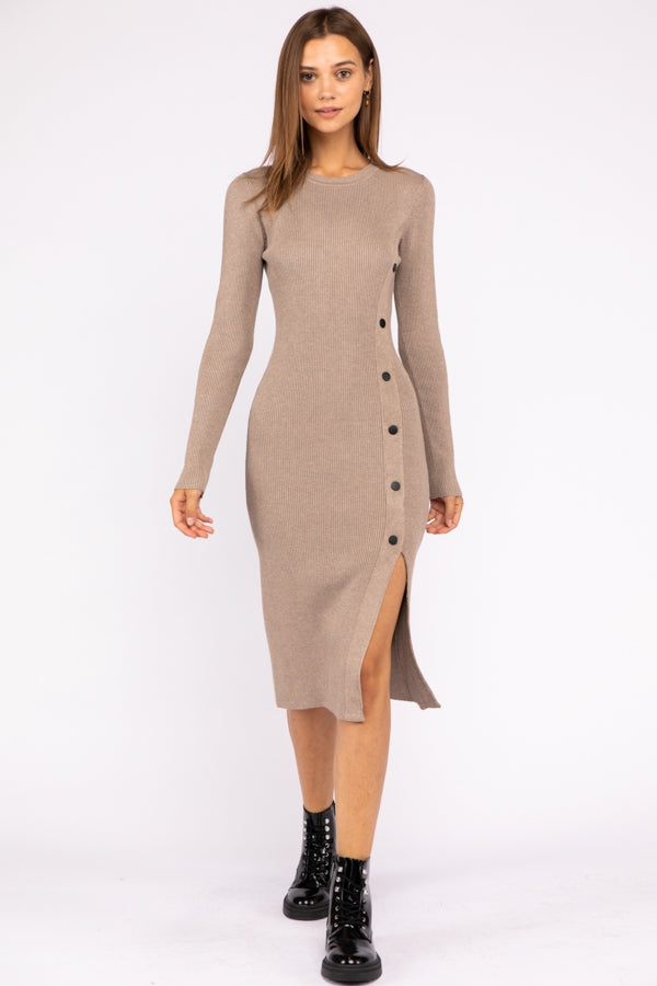 Long Sleeve Side Button Detail Sweater Bodycon Midi Dress In Beige Siin Bees