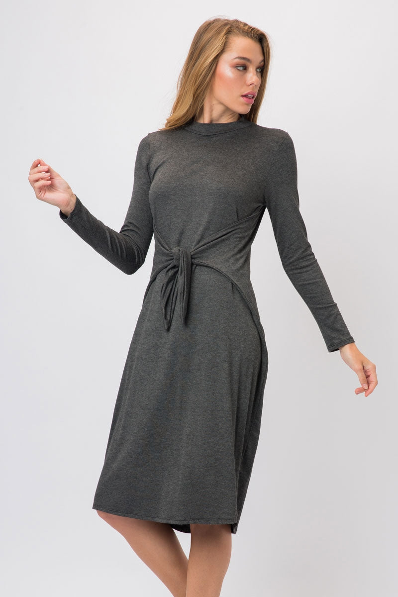 Charcoal Knit Span Shirt Dress With Tie And Split Overlap Siin Bees