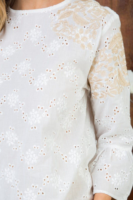 White Ruffle Detail with 3/4 Sleeve Embroidered Woven Top Siin Bees