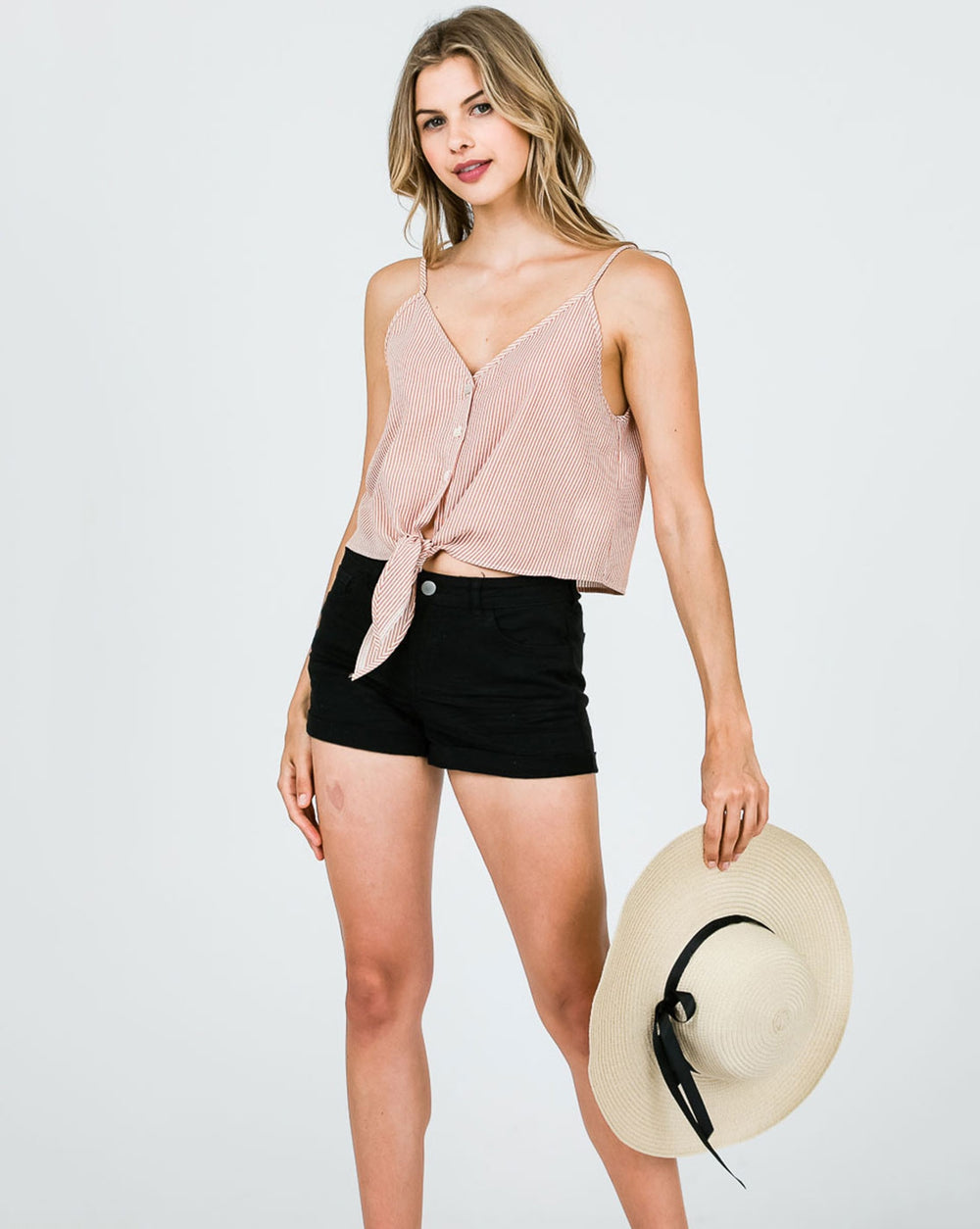 Pink Open Shoulder Cami Crop Top Striped Tie with Button Down Siin Bees