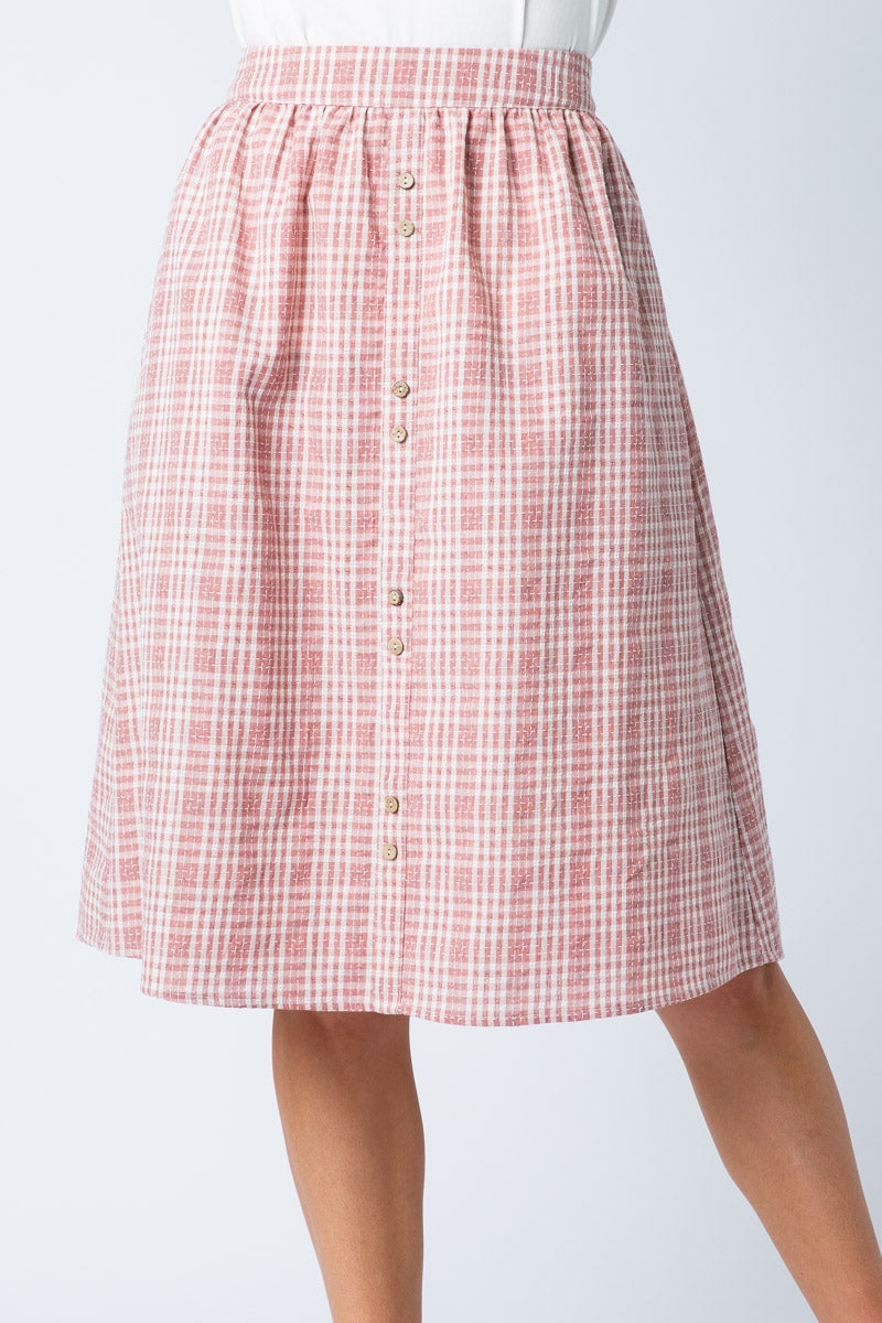 Beautiful Mauve Midi Skirt Plaid With Two Button - Siin Bees