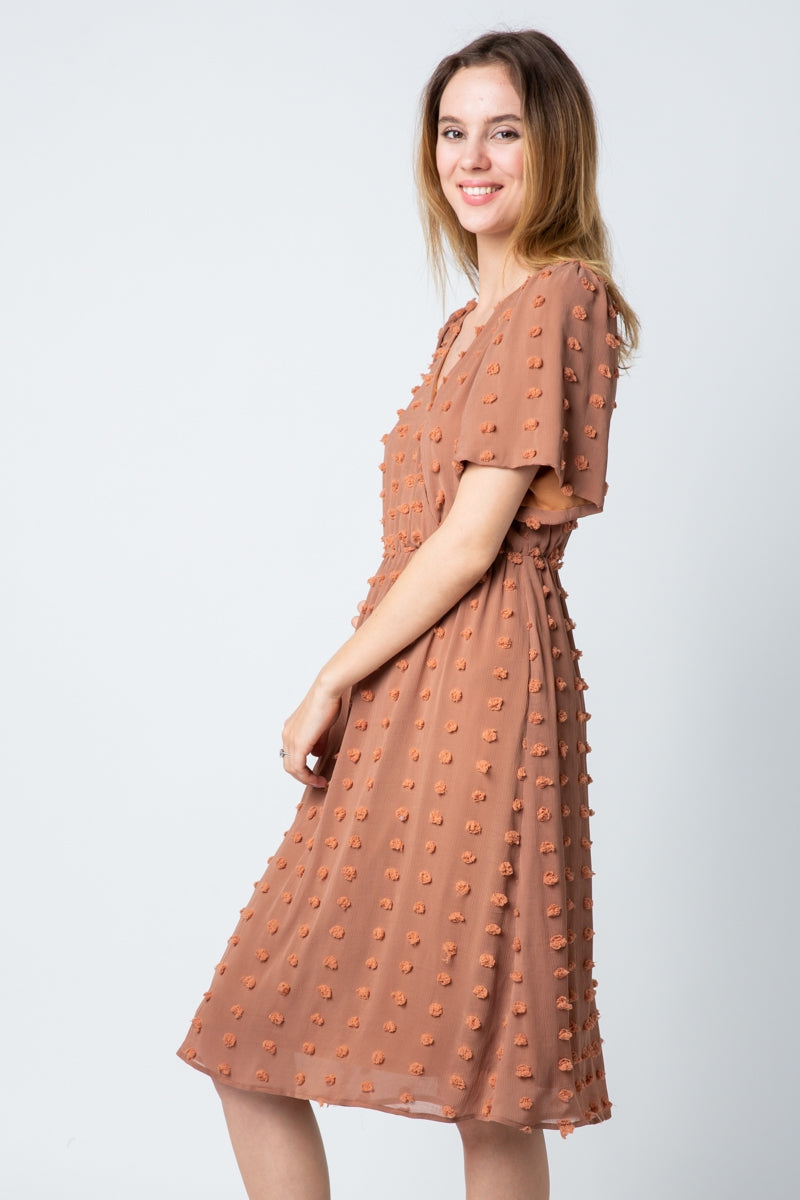 Arya Rust Midi Swiss Dot Dress With Surplice Neckline Siin Bees