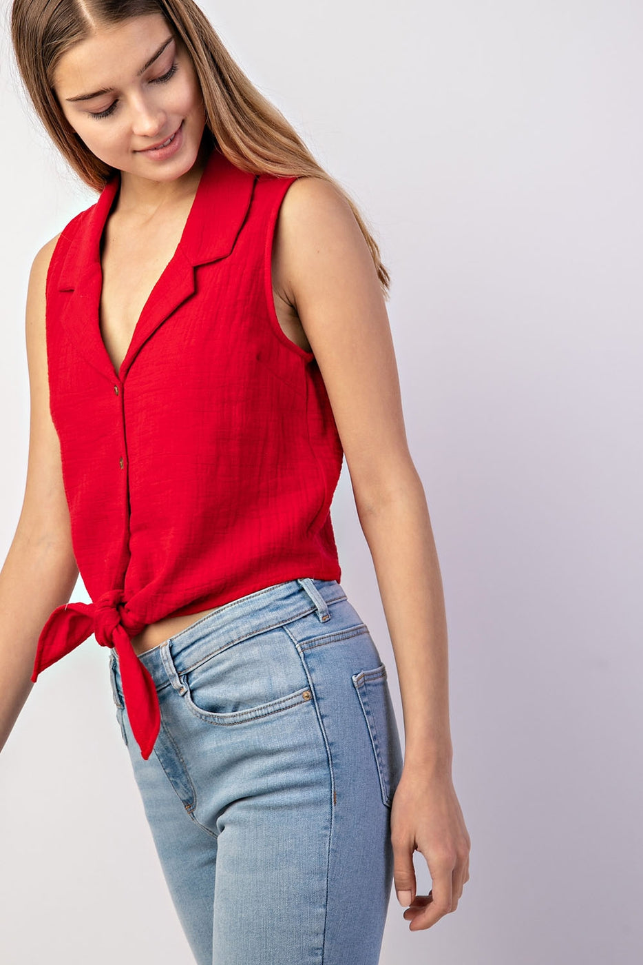 Button Down Tie Front Detail Sleeveless Top In Red Siin Bees