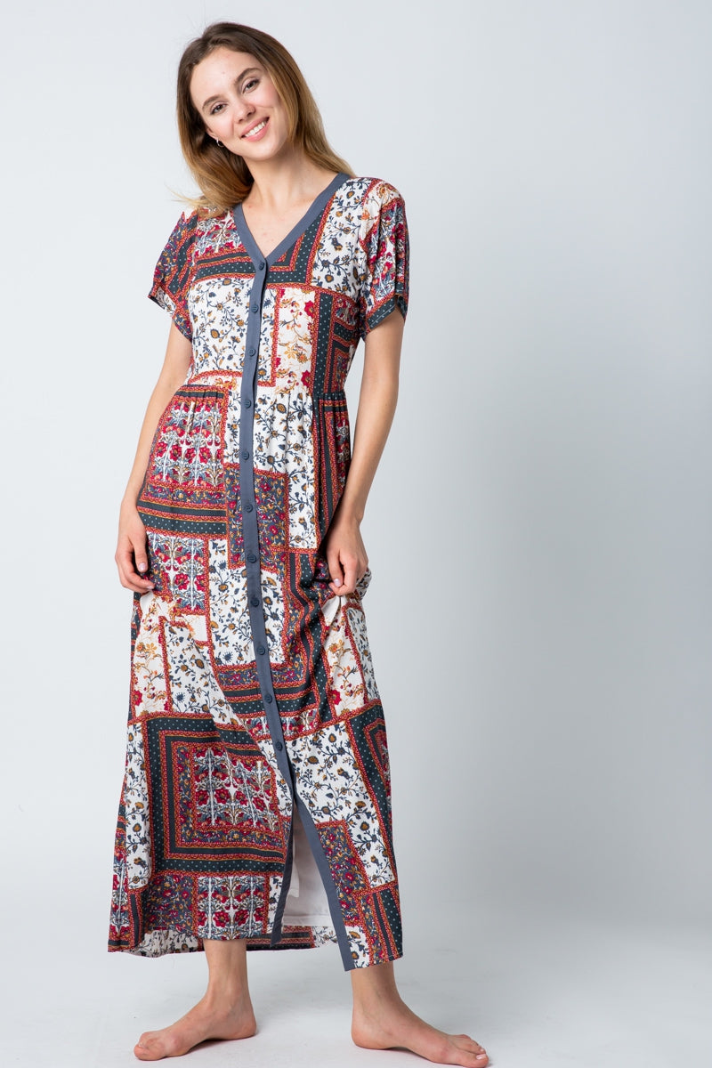 Kylie Red Maxi Dress Mix Print With Button Down Siin Bees