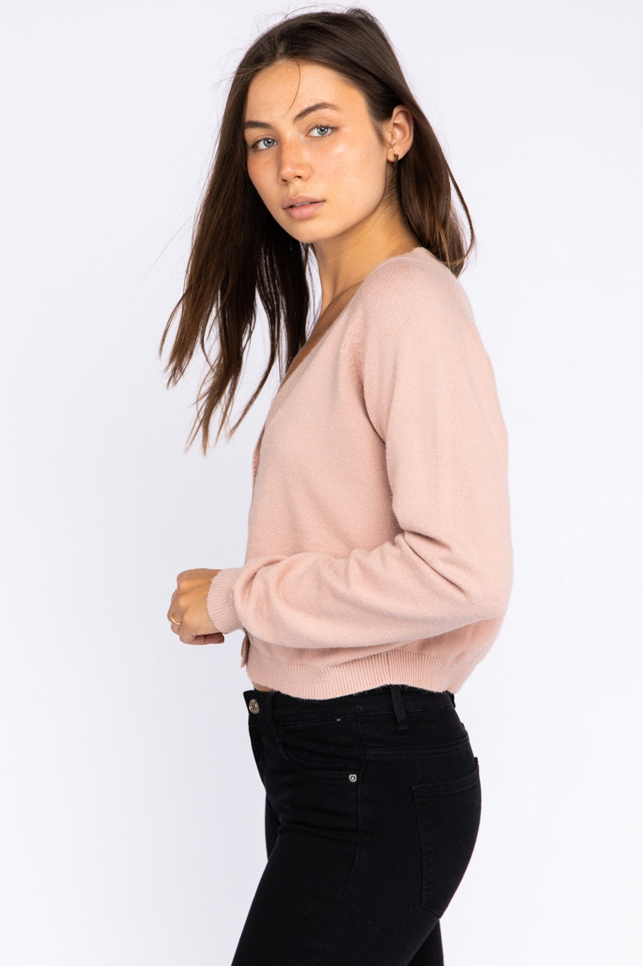 Long Sleeve Button Down Cardigan In Blush Siin Bees