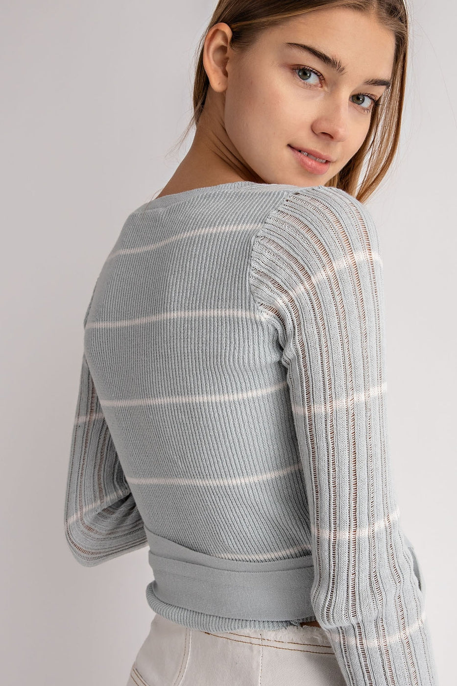 Lap Detail Sweater In Sky Blue Siin Bees