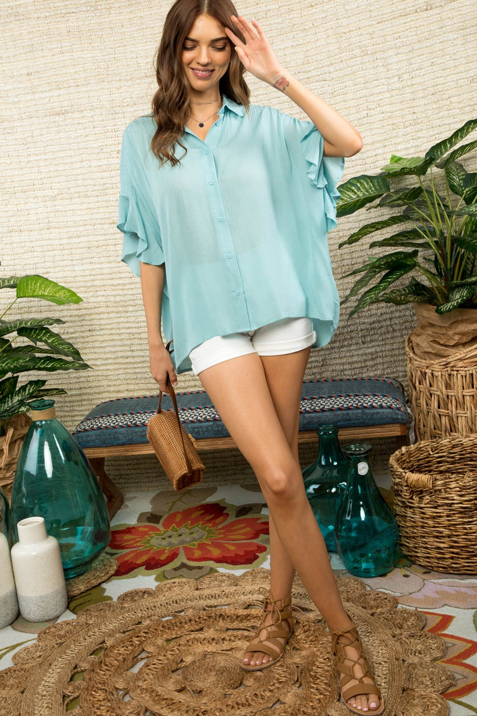 Shoulder Smocking Short Ruffle Sleeve Button Down Top Siin Bees
