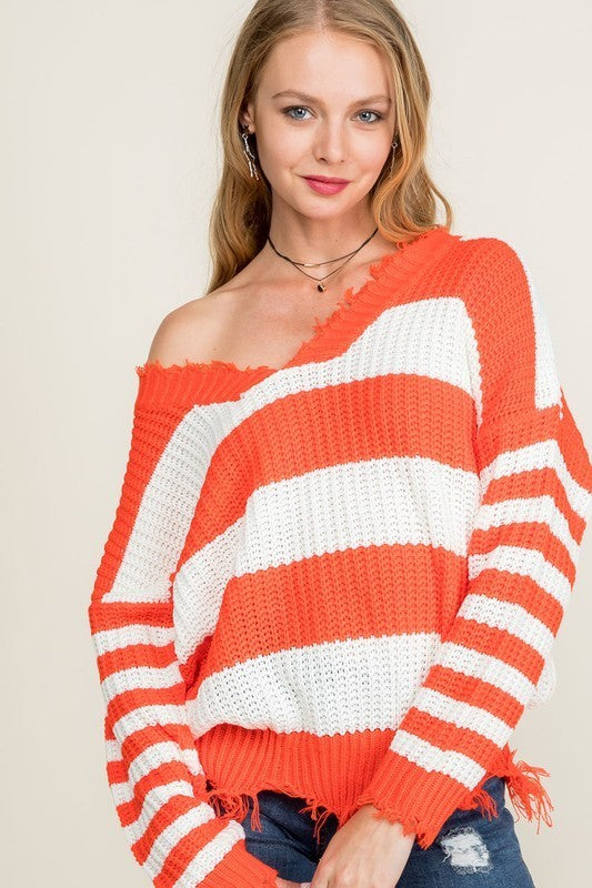 Frayed V Neck Stripe Sweater Siin Bees