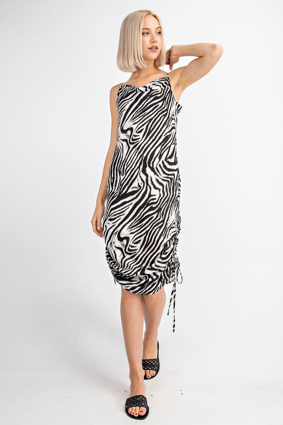 Zebra Print Cowl Neck Midi Dress With Side Ruching In Black Siin Bees