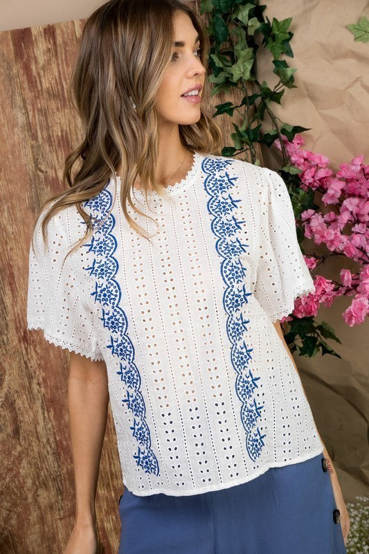 Ruffle Sleeve with Back Button Embroidered Woven Top Siin Bees