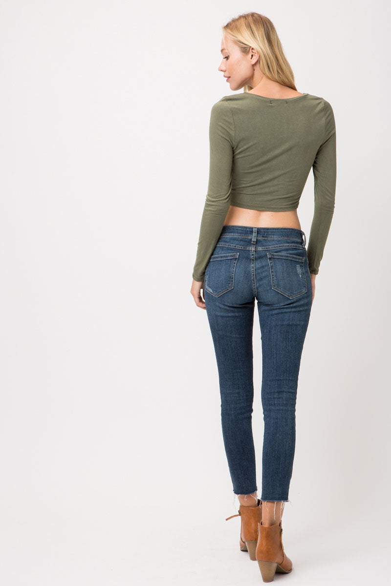 Olive Long Sleeve Knit Crop Top With Cross Twist Siin Bees