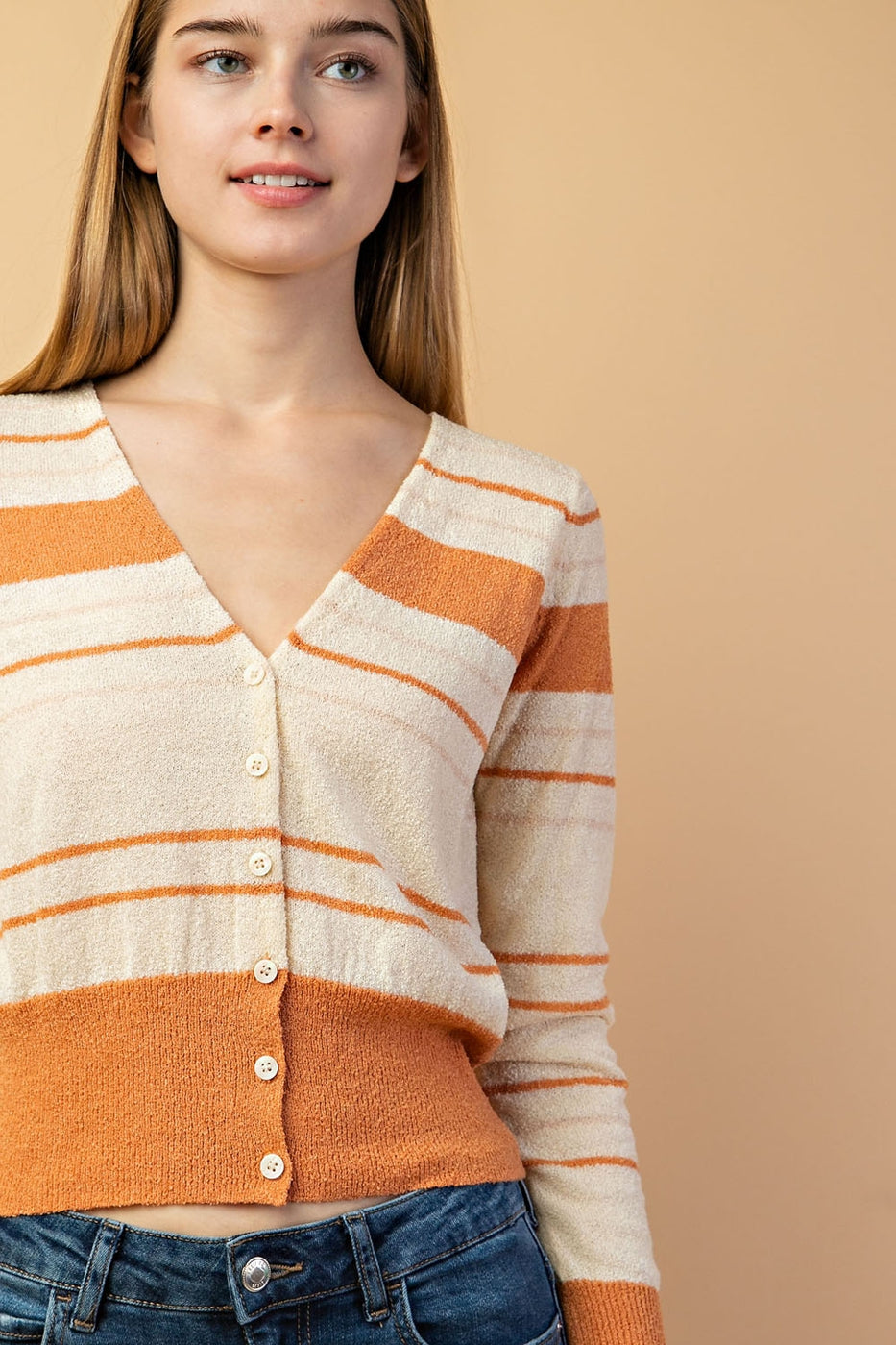 Striped Button Down Cardigan In Light brown Siin Bees