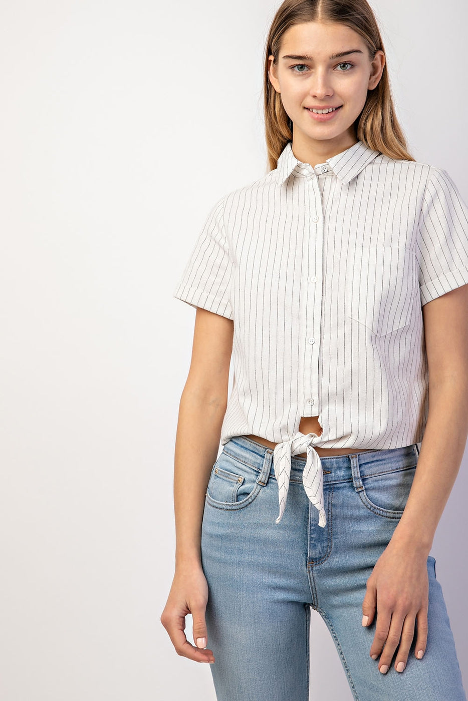 Button Up Front Tie Stripe Top In White Siin Bees