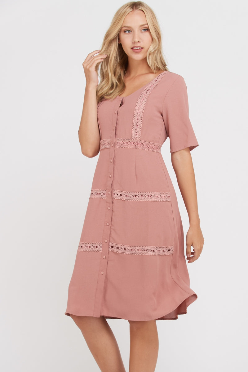 Emmeline Short Sleeve Midi Dress Open Placket In Mauve Siin Bees