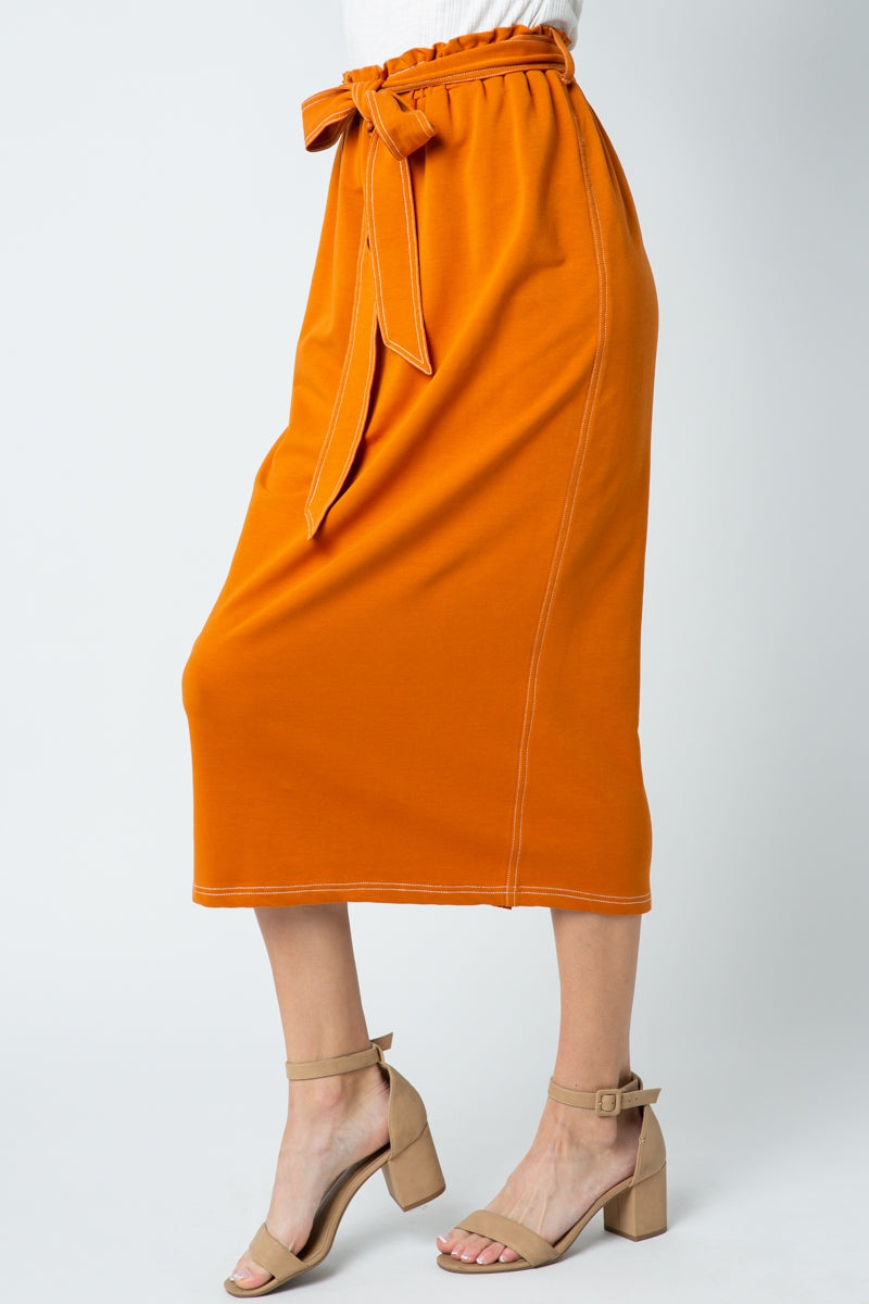 Charming Midi Skirt Knit With Back Slit Siin Bees