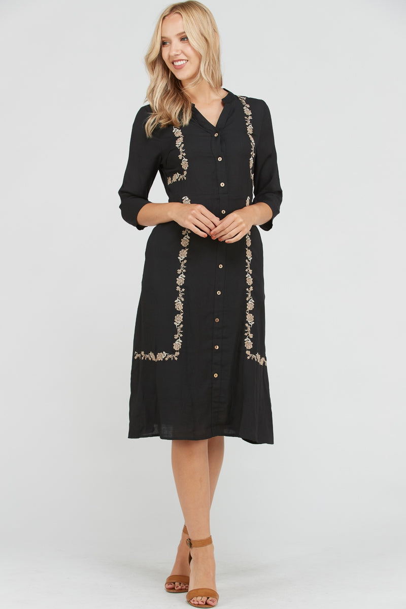 Melissa Embroidery Midi Dress With Two Side Pocket In Black Siin Bees