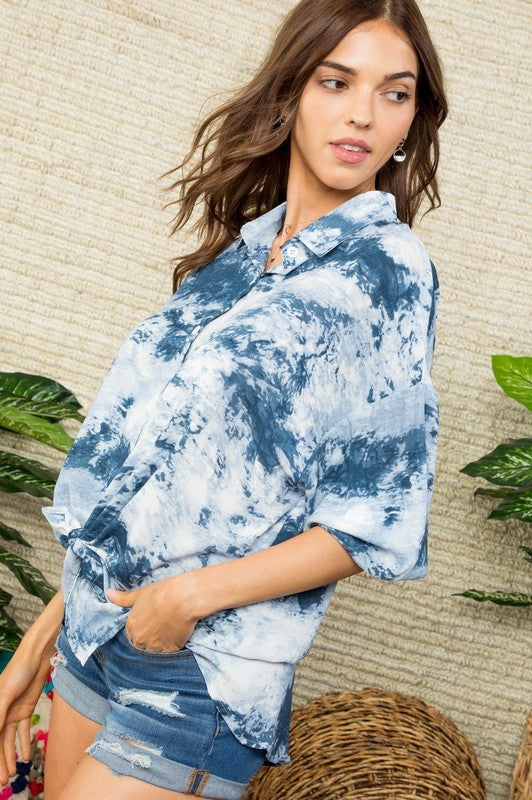 Long Sleeve Oversize Fit Hi-Lo Tie Dye print Shirt Siin Bees