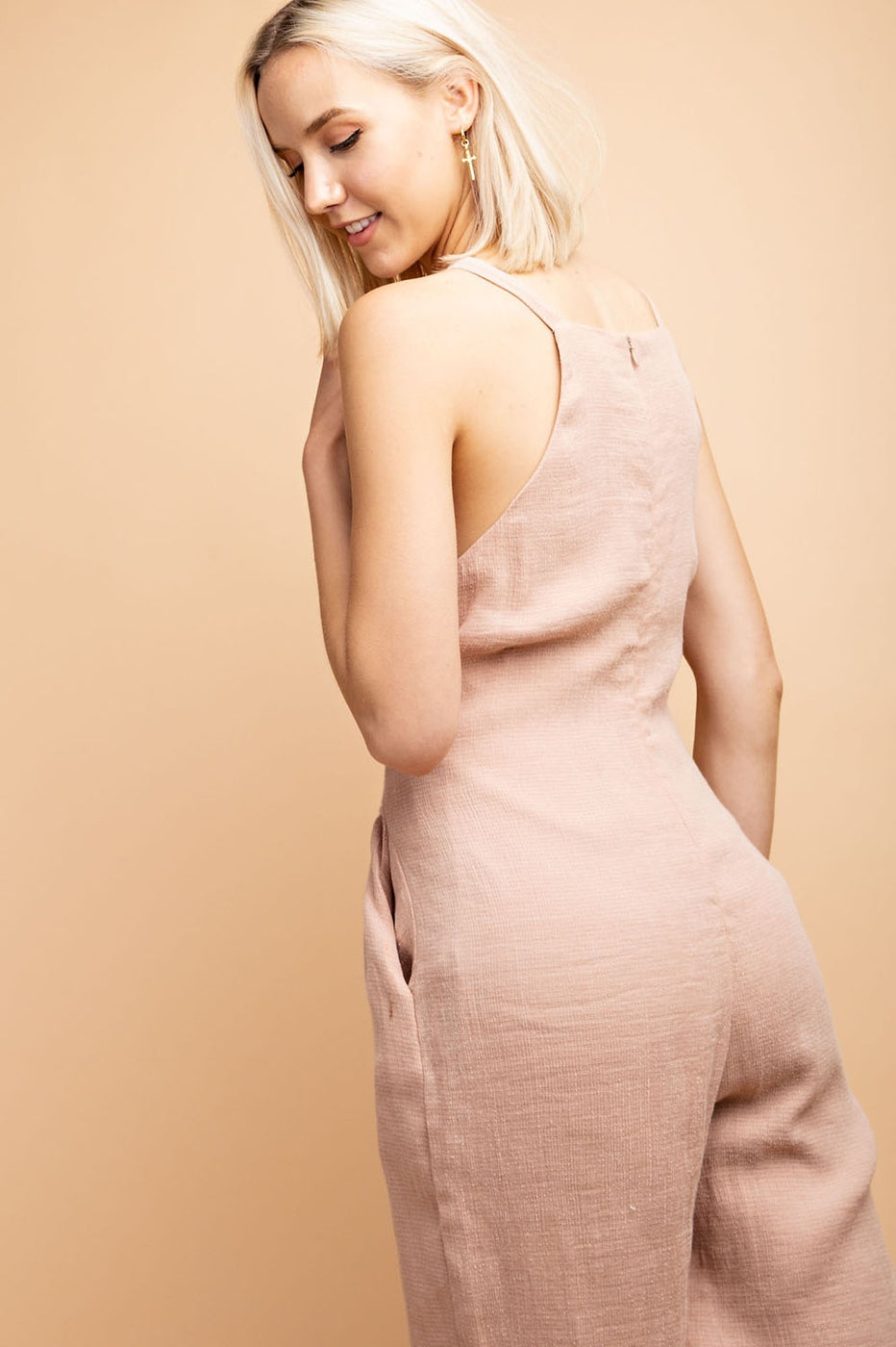 Alexa Jumpsuit With Waist Tie Cropped In Dusty Rose Siin Bees