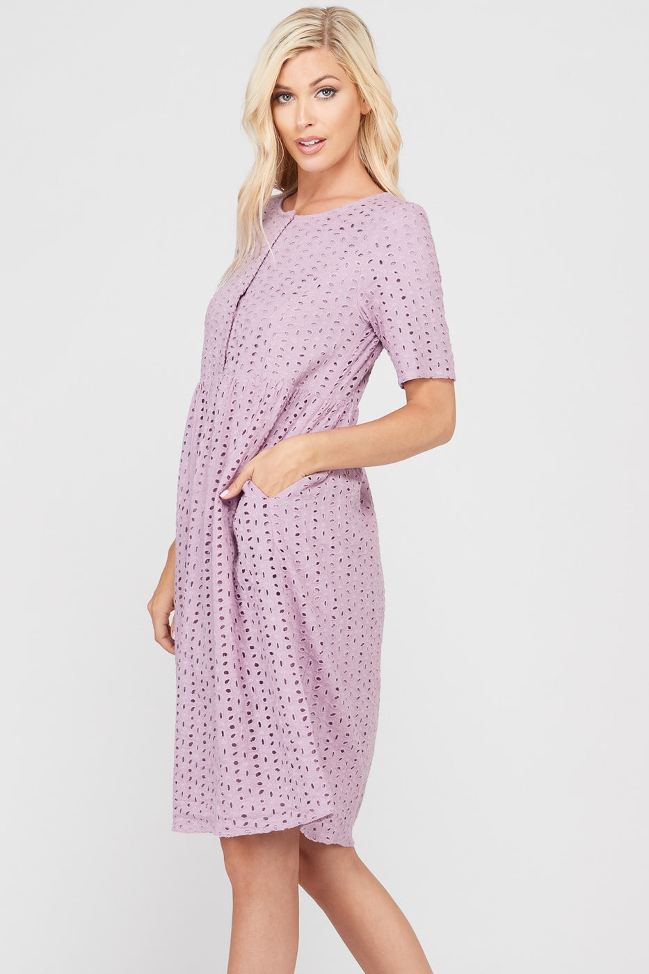 Aliyah Short Sleeve Eyelet Midi Dress With Front Button Siin Bees