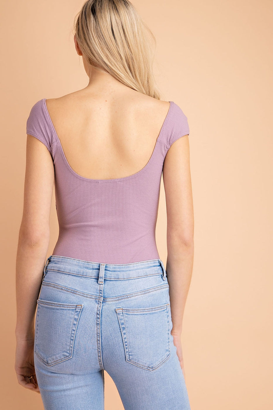 Ribbed Knit Bodysuit In Lavender Siin Bees