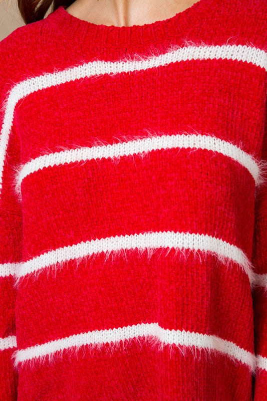 Red Stripe Super Soft Sweater Siin Bees