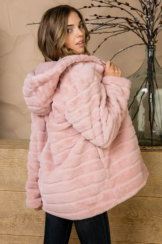 Pink Cotton Candy Layered Wool Hoodie Long Sleeve Jacket With Zipper Close Siin Bees
