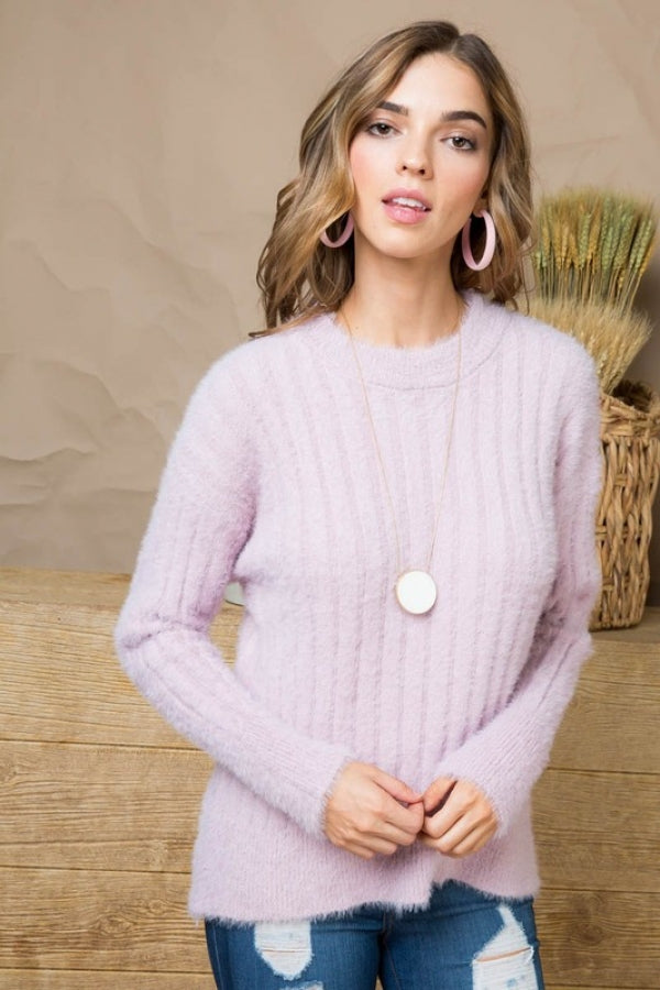 Lilac Crew Neck Long Sleeve Ribbed Tunic Sweater Siin Bees