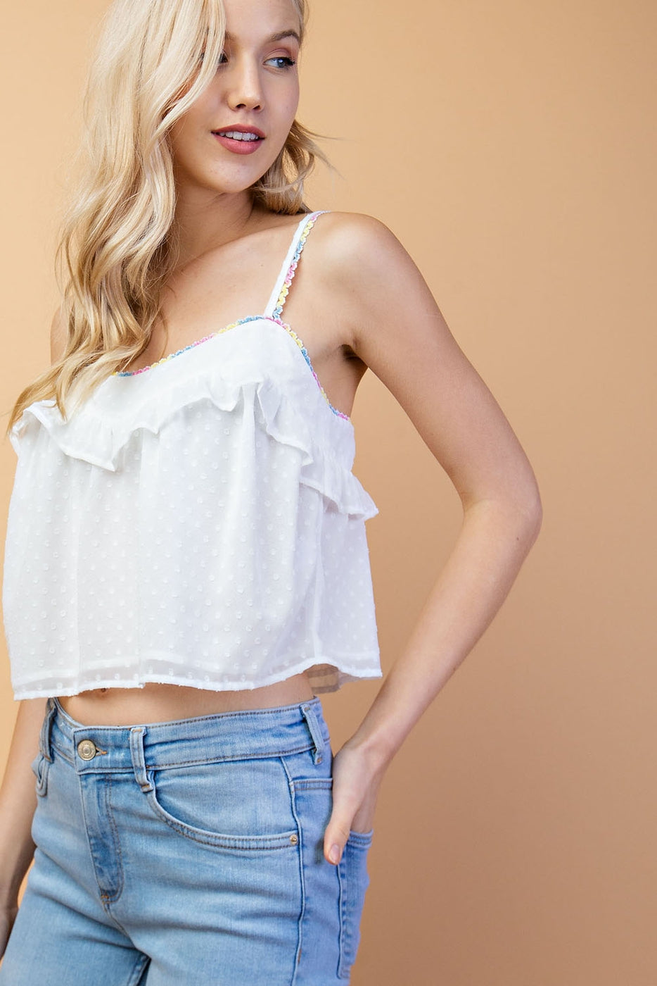 Multi Lurex Edge Lace Detail Ruffle Top In White Siin Bees