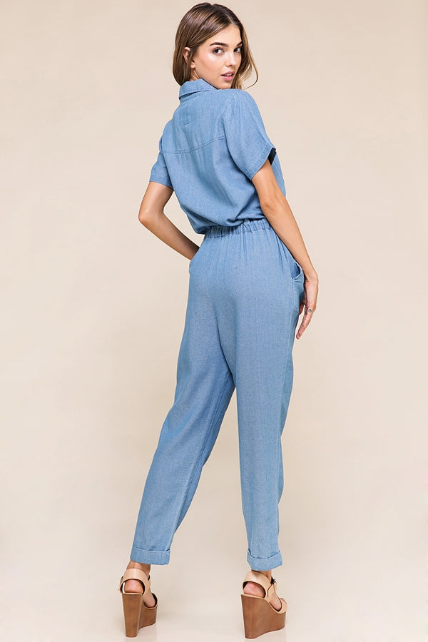 Sofia Short Sleeve Jumpsuit Zipper Down Siin Bees