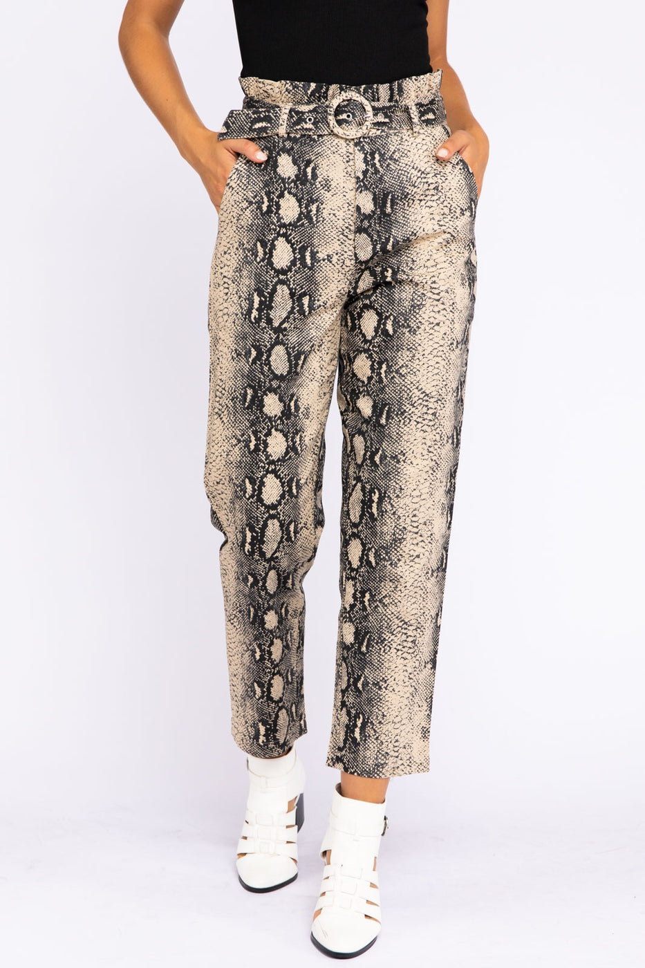 Snake Print Paper Bag Belted Pants In Taupe Siin Bees