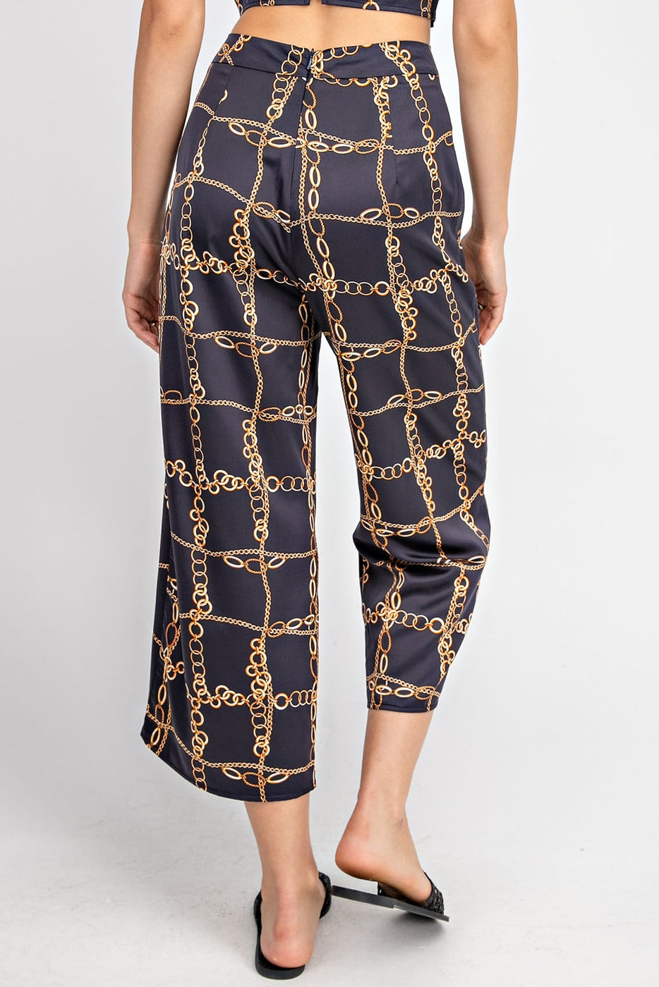Printed Crop Pants In Navy Siin Bees
