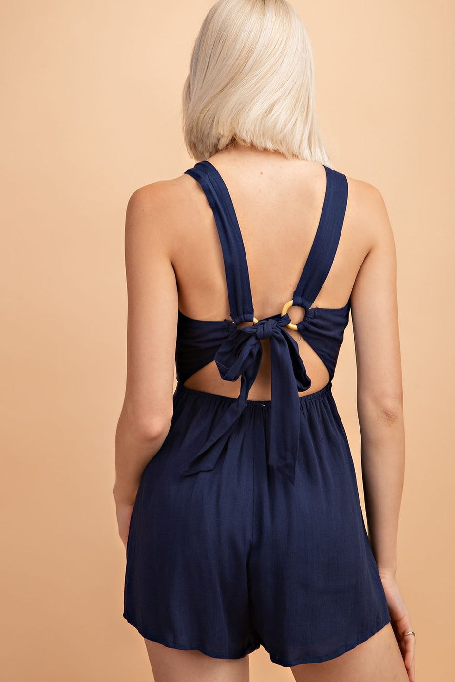 Solid Romper With Back Wood Ring Trim - Siin Bees