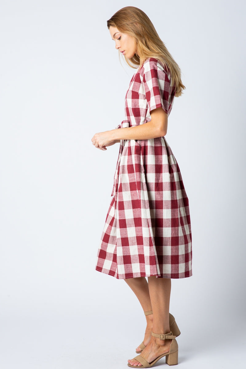 Josie Midi Dress With Self Tie Belt In Burgundy Siin Bees