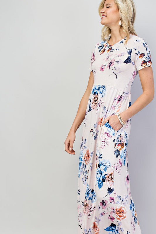 Olivia Short Sleeve Floral Maxi Dress Siin Bees