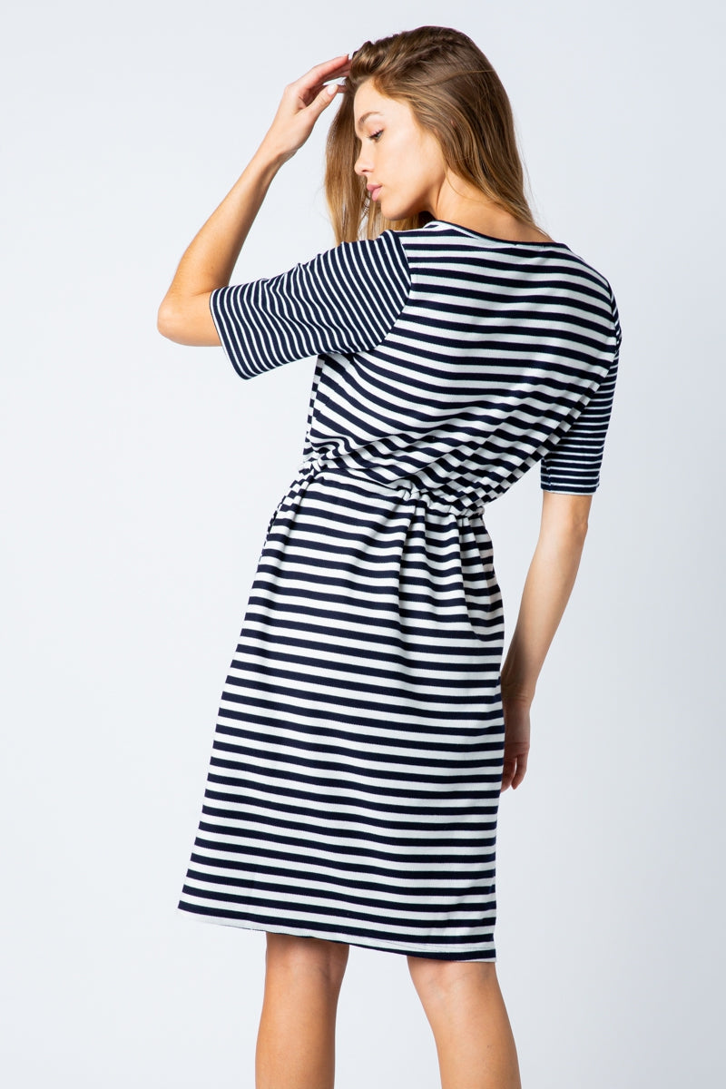Eloise Casual Striped Midi Dress With Adjustable Drawstring Siin Bees