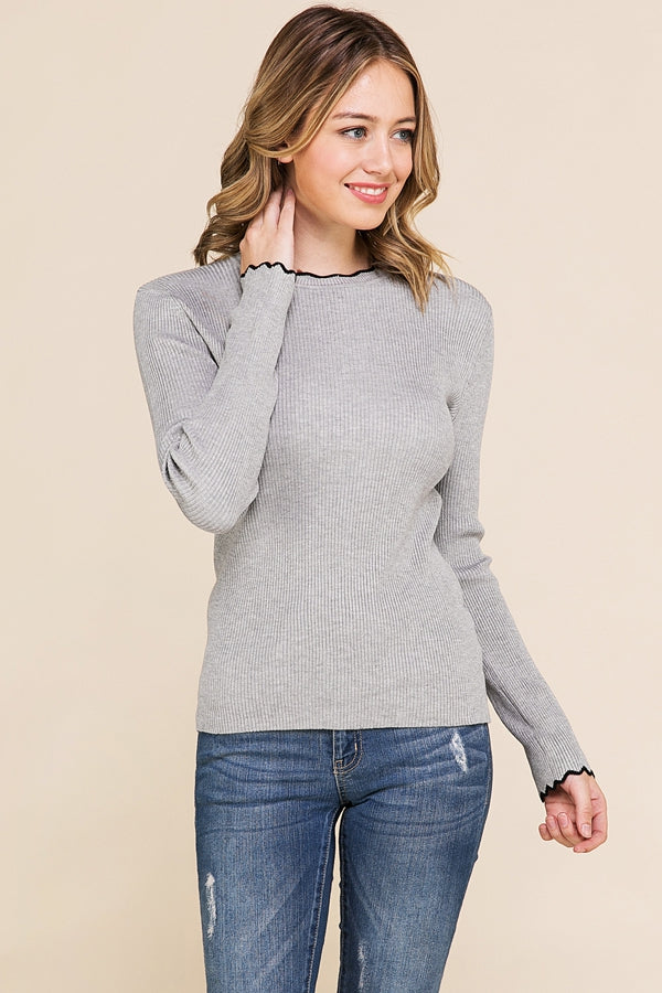 Knit Long Sleeve Top With Scallop Hem IN Grey Siin Bees