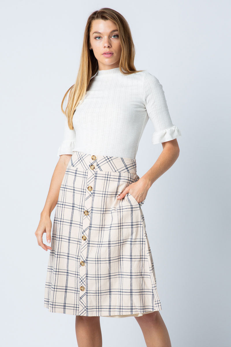 Anna Natural Midi Skirt With Button Front Middle Siin Bees