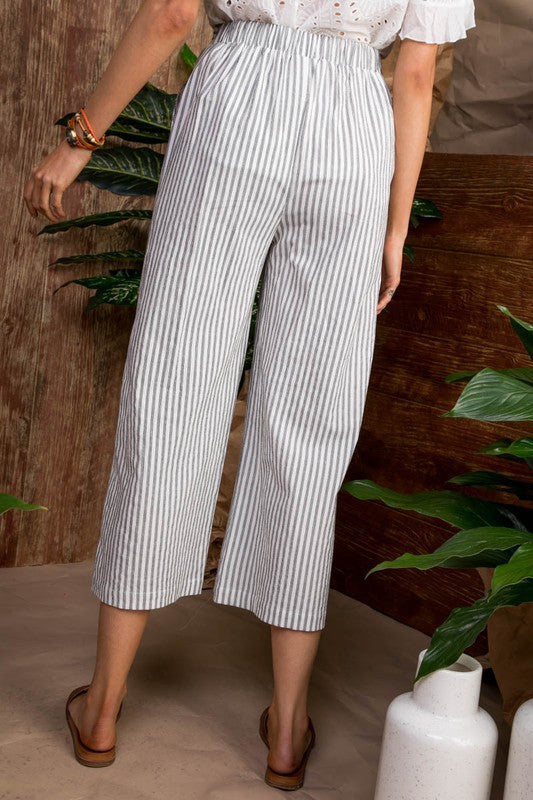 Waist Self Belt with Tassel and Back Elastic Woven Pants Siin Bees