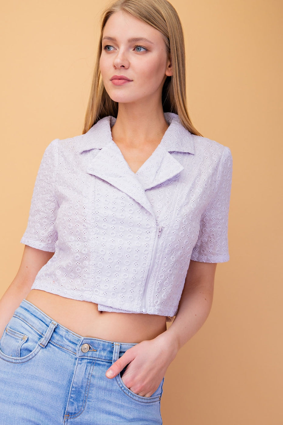 Multi Purpose Cotton Eyelet Motor Jacket/ Top In Lavender Siin Bees