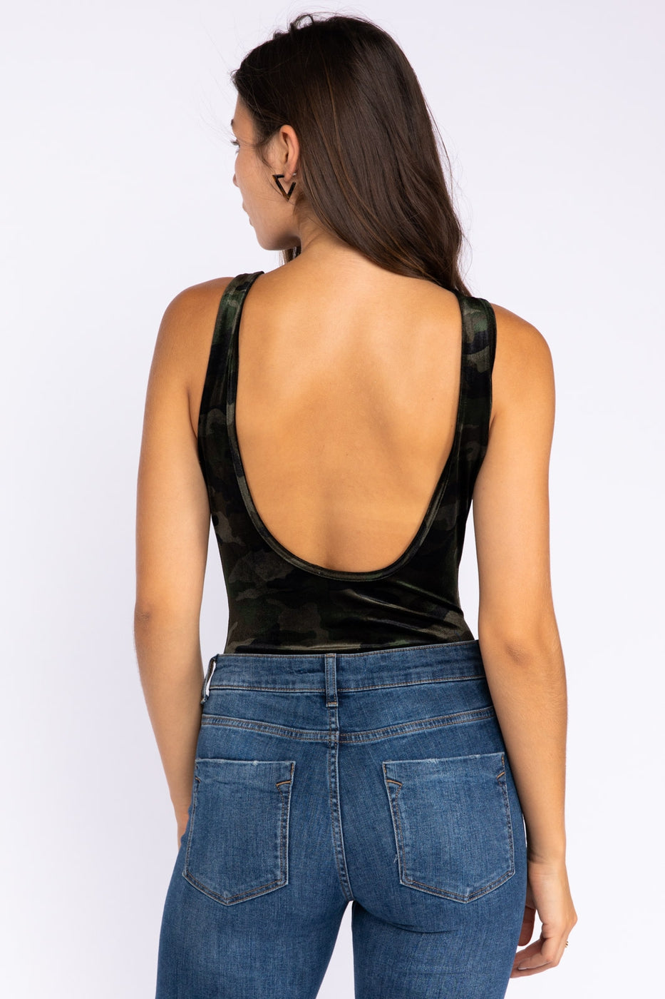 Camoflauge Velvet Sleeveless Bodysuit With Low Back Siin Bees