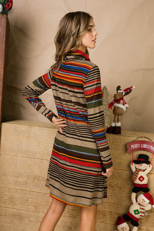 Multi Print Cowl Neck With Tie Sting Accent Long Sleeve Knit Midi Dress With Pocket Siin Bees