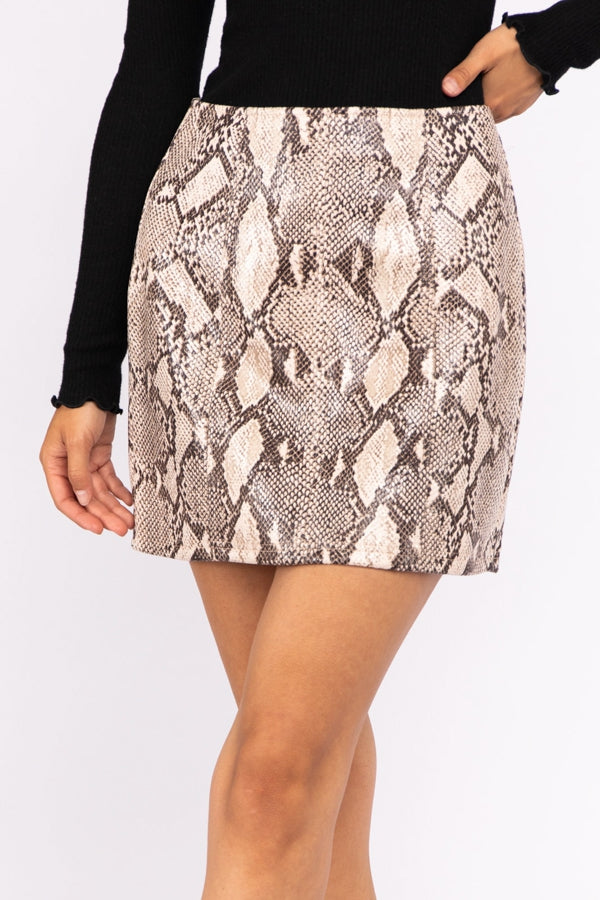 Button Down Snake Skin Mini Skirt In Taupe Python Siin Bees