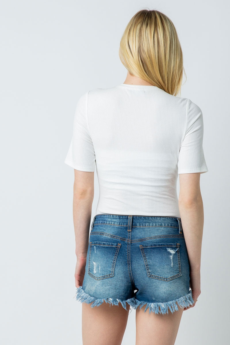 White Ribbed Short Sleeve Bodysuit With Crew Neck Siin Bees