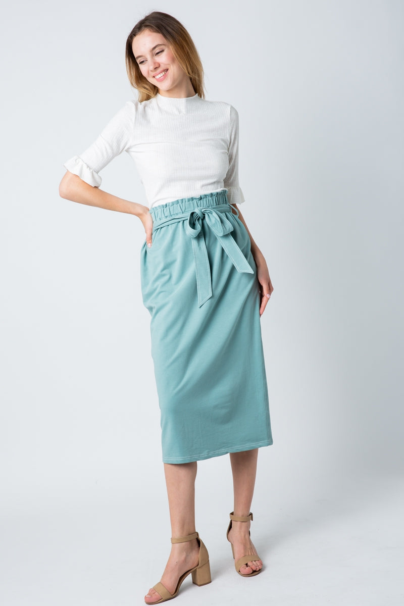 Charming Sage Midi Skirt Knit With Back Slit Siin Bees