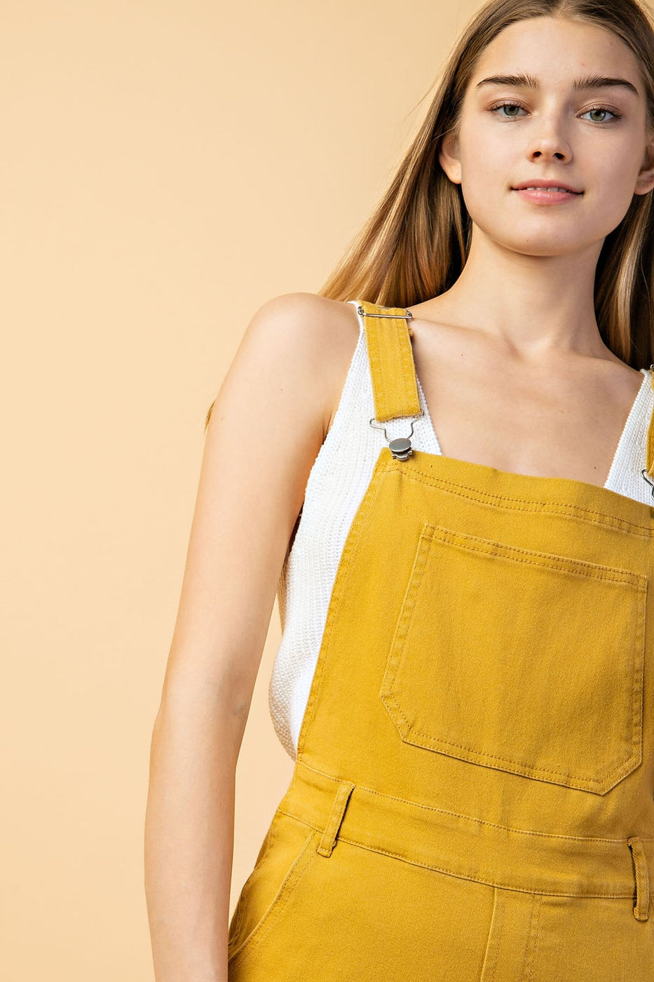 Stretch Color Denim Overalls In Mustard Siin Bees
