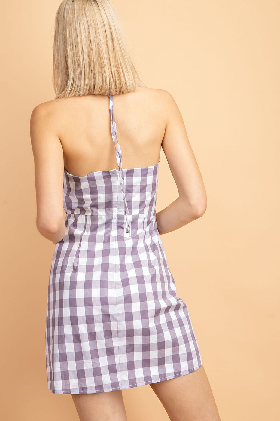 Caroline Gingham Dress With Twist Detail In purple Siin Bees