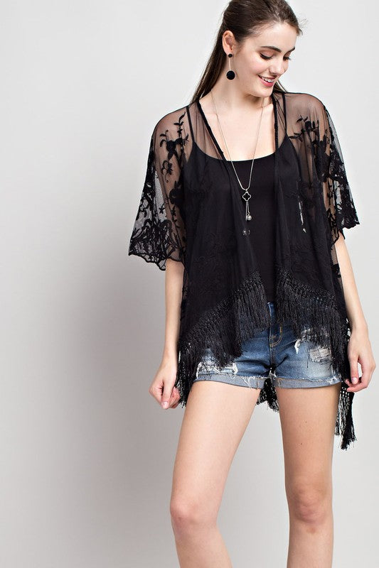 Embroidered Mesh Fringe Hi Low Open Cardigan Siin Bees